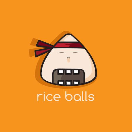 rice balls ninja mascot cartoon vector illustration