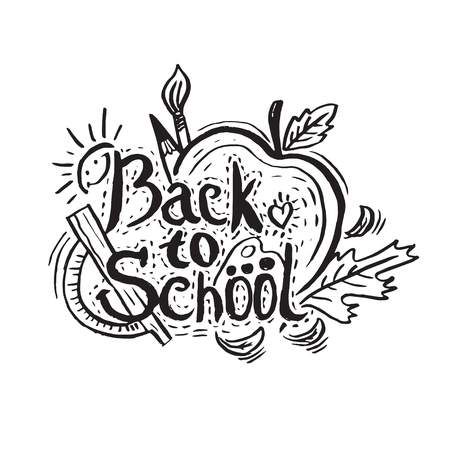 Hand drawing greeting card Back to School