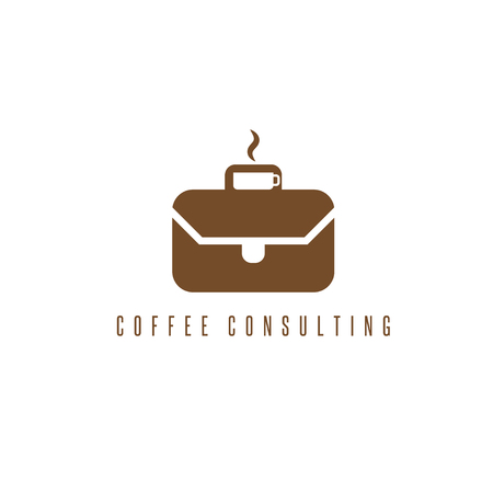 illustration concept with cup of coffee and briefcase