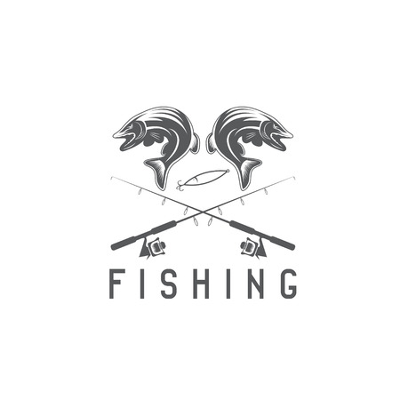 minnow: vintage fishing vector design template with pike Illustration