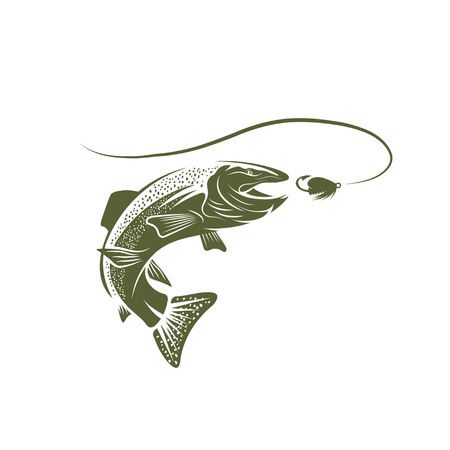 spawning: trout fish and lure vector design template