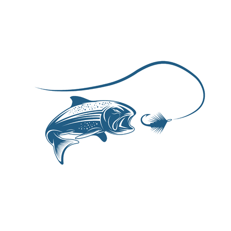 coho: salmon fish and lure vector design template