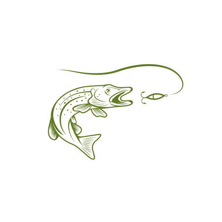 spawning: pike and lure vector design template illustration