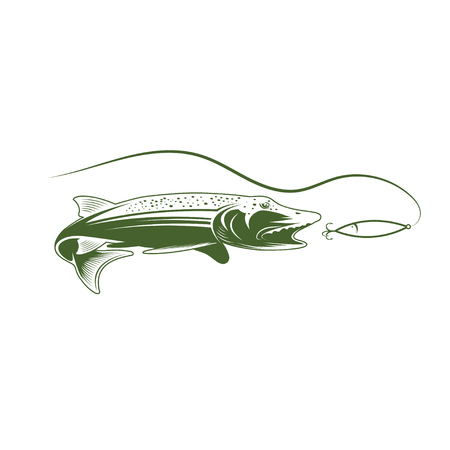 pike and lure vector design template illustration