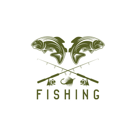 minnow: vintage fishing vector design template with trout Illustration
