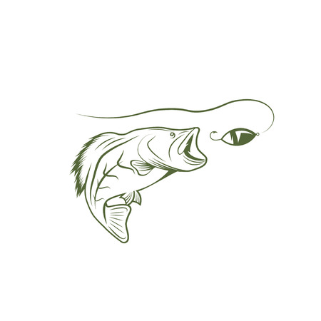 spawning: largemouth bass and lure vector design template