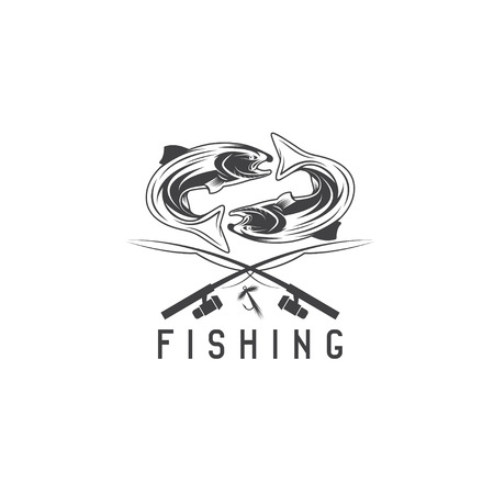 minnow: vintage fishing vector design template with salmon