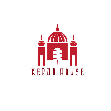 kabob: gyros doner kabob with authentic arabic building isolated vector negative space concept Illustration