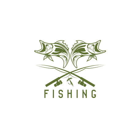 abstract fish: vintage fishing vector design template with abstract fish