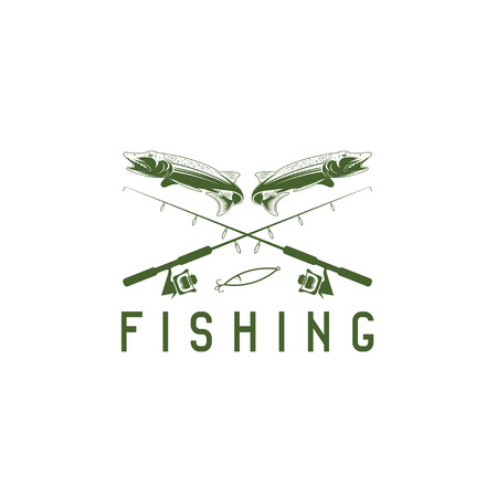 pike: vintage fishing vector design template with pike Illustration