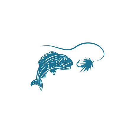 abstract fish: abstract fish and lure vector design template