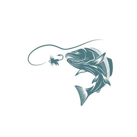 salmon fish and lure vector design template Ilustração Vetorial