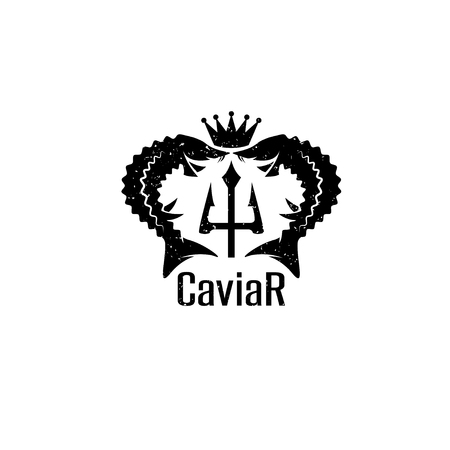 caviar grunge vector emblem with sturgeons , crown and trident