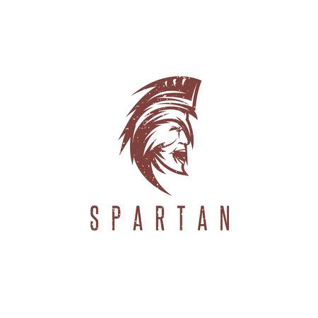 army face: Old Vintage Antiques Spartan warrior grunge vector design template Illustration