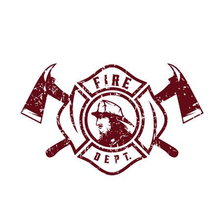 patron: grunge emblem of fire department with fireman Illustration
