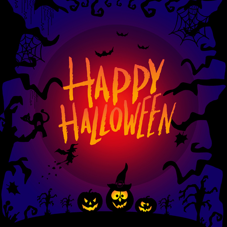 Art card for Happy Halloween.Design template for flyers, posters,ecards, invitations, brochures. Creative style. Vector illustration Illustration