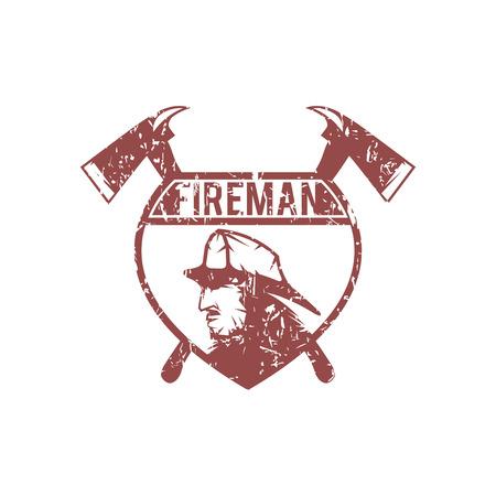 grunge emblem of fire department with fireman Illustration