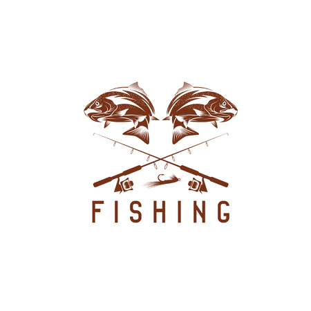vintage fishing vector design template with trout Illustration