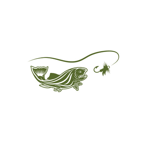coho: trout fish and lure vector design template