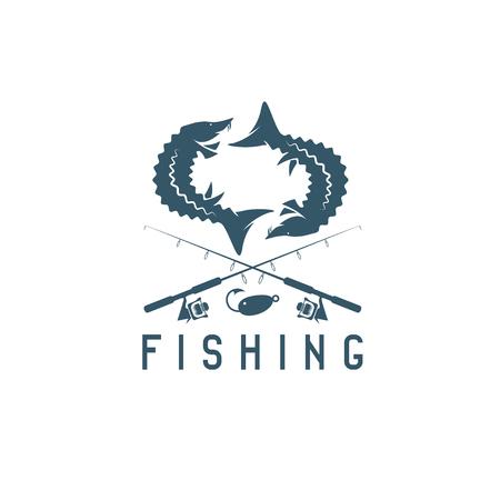 vintage fishing vector design template with sturgeon Illustration