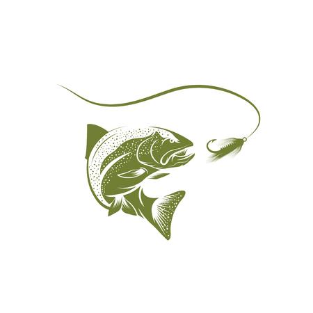 Forelle Fisch und Köder Vektor-Design-Vorlage