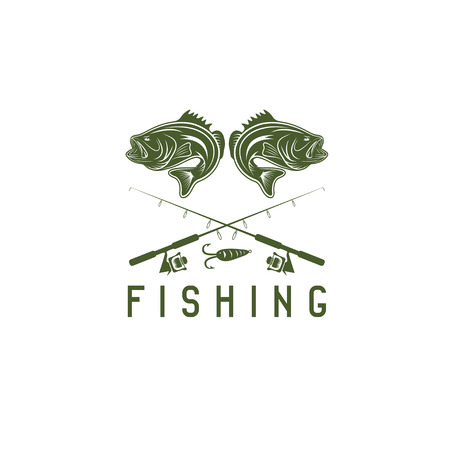 largemouth bass: vintage fishing vector design template with largemouth bass