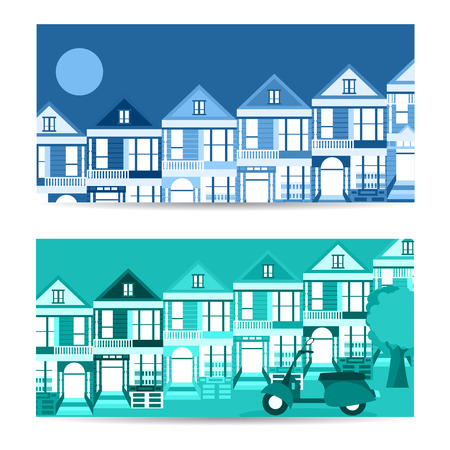 san francisco bay: San Francisco landmarks horizontal flat design vector banners