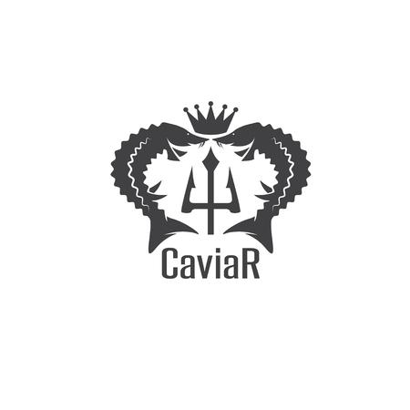 emblema vettore caviale con storioni, corona e il tridente
