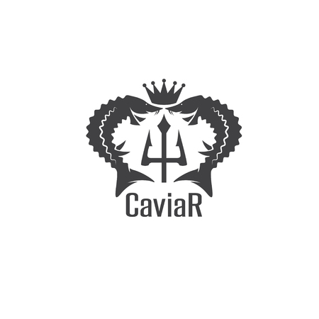 caviar vector emblem with sturgeons , crown and trident Illustration
