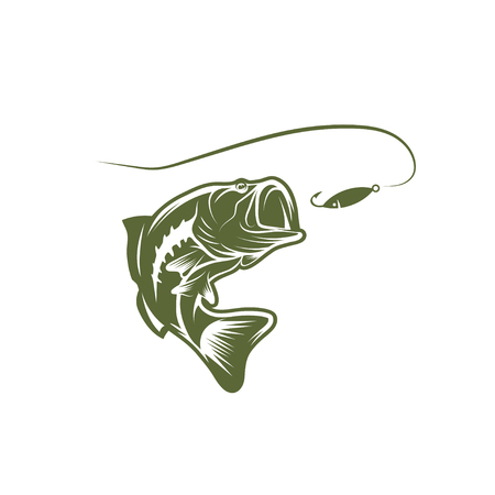 largemouth bass: largemouth bass and lure vector design template