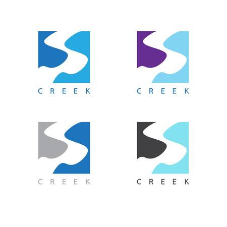 river rock: abstract creek or path labels set vector illustration