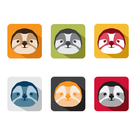 laziness: abstract animal sloth flat design vector icons set