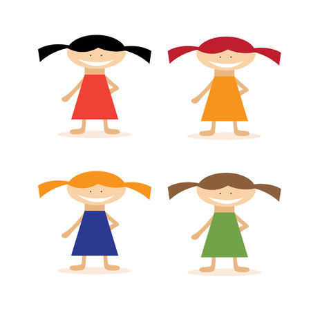 vector set of simple flat design girls in dresses