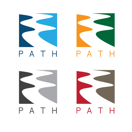 river water: abstract path or river labels set vector illustration