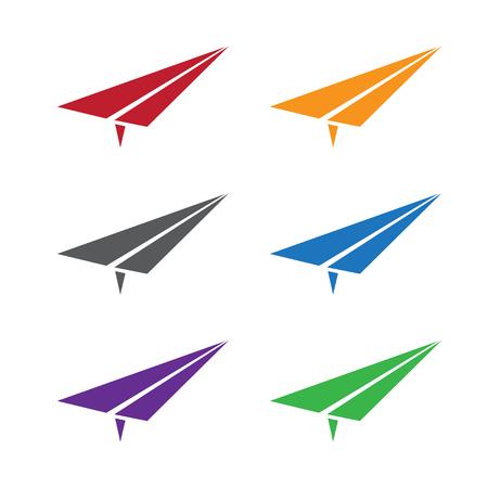 vector set illustration of colorful paper planes Illustration