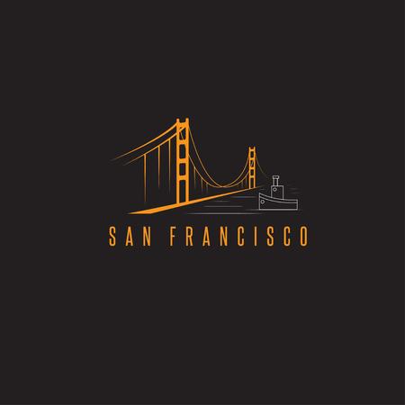 san francisco golden gate bridge: san francisco golden gate bridge vector design template illustration