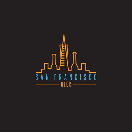 ビール瓶ベクター デザイン テンプレート イラスト、サンフランシスコのスカイライン