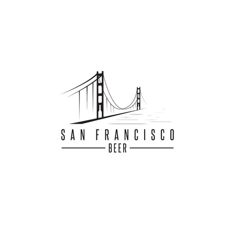 san francisco golden gate bridge: san francisco golden gate bridge with beer bottles vector design template