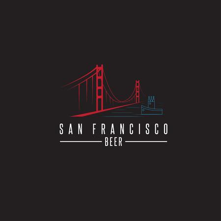 san francisco golden gate bridge: san francisco golden gate bridge with beer bottles and boat vector design template