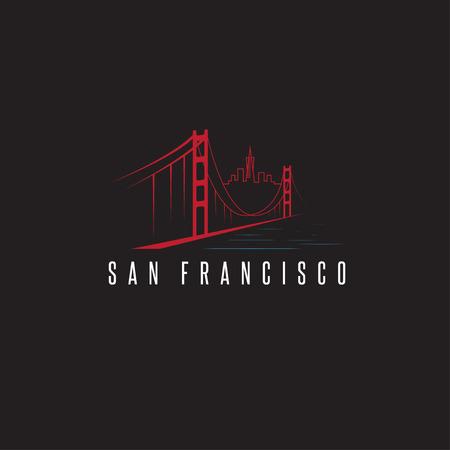 golden gate bridge: san francisco skyline and golden gate bridge vector design template illustration
