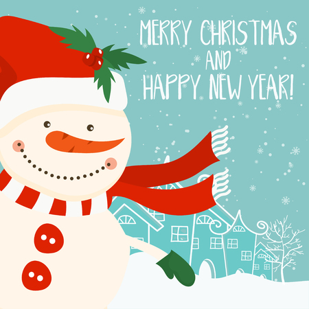 Cartoon illustration for holiday theme with snowman on winter background. Greeting card for Merry Christmas and Happy New Year. Illustration
