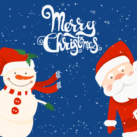 Cartoon illustration for holiday theme with Santa Claus and snowman on winter background. Greeting card for Merry Christmas and Happy New Year. 일러스트
