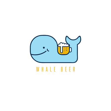 whale with negative space beer mug vector design template