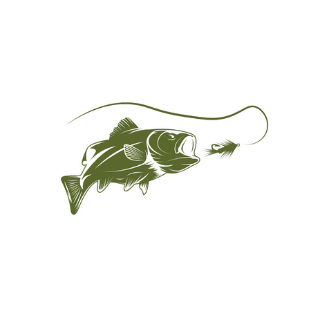 largemouth bass and lure vector design template Vector Illustration