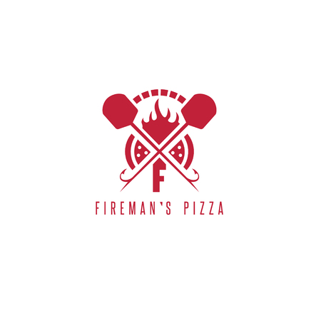 firemans pizza vector concept with oven and peels Illustration