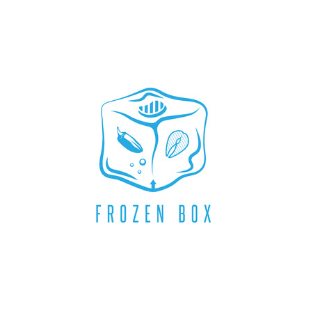 frozen fish: food box concept with frozen products for bbq vector icon