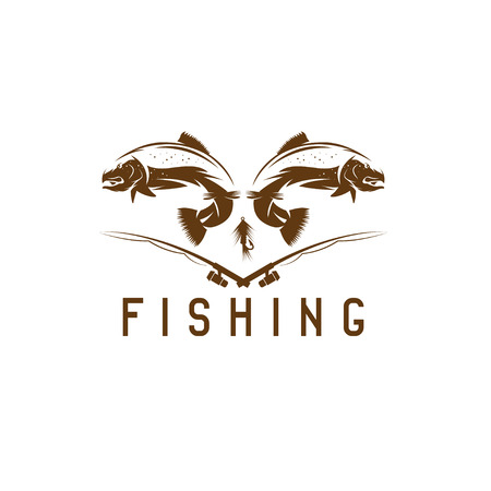 jig: vintage fishing vector design template with trout Illustration