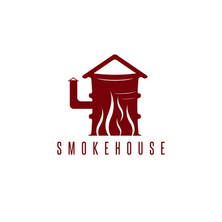 bbq barrel: smokehouse vector concept with barrel and flame