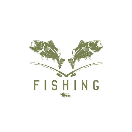 minnow: vintage fishing vector design template with bass