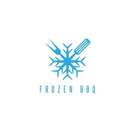 pancetta cubetti: snowflake and bbq tools vector design template Vettoriali